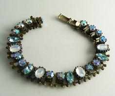 Book Chain Blue AB Rhinestone Bracelet