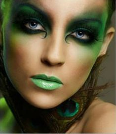 Green Fairy Face Painting | Green Fairy Peacock Feather