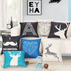 Fashion Geometric Deer Cotton Linen Sofa Cushion Embrace Pillow 45x45cm/17.7x17.7'' Throw pillow Home Decor Textile seat cushion