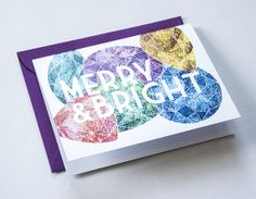 MERRY & BRIGHT Colorful gems on a shimmering by DanielleSayer, $4.00 Holiday Cards, Christmas Cards, Merry And Bright, Christmas Holidays, Gems, Colorful, My Love, Paper, Products