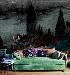 velvet green couch.  I have to get this for my library.  Totally perfect.