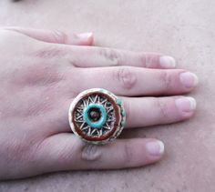 Ceramic jewelry  ceramic ring in brown and turquoise  by ednapio, $15.00