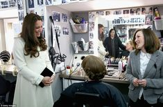 Backstage: The Duchess enjoys a chat with actress Phyllis Logan (Mrs Hughes) and make-up a...