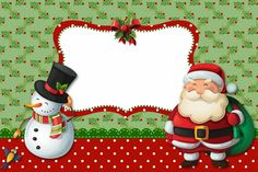 Snowman and Santa: Free Printable Invitations, Cards and Photo Frames. | Oh My Fiesta! in english