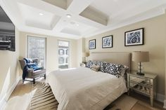 Transitional Master Bedroom with Hardwood floors, Box ceiling, Carpet, Paint1, High ceiling, Crown molding