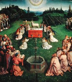 Jan and Hubert (?) van Eyck, Ghent Altarpiece (Open), Adoration of the Mystic Lamb, completed 1432.
