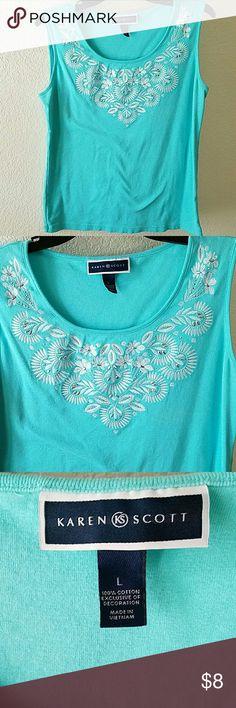 "Sleeveless Karen Scott Embellished Top  Cotton sleeveless embellished top. Used only once. No stains or damages. 24"" L. Karen Scott Tops"