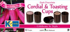 Chocolate Cups by Kane Candy. Dark Chocolate Cordial & Toasting Cups. Premium Quality Chocolate. Great for parties, weddings or any fun occasion! www.KaneCandy.com
