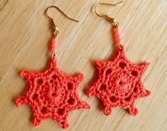 Earrings - Crocheted Coral Red Red Things, Crochet Earrings, Coral, Jewelry, Fashion, Moda, Jewlery, Jewerly, Fashion Styles