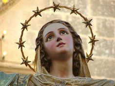 A statue of the Assumption of Mary typically crowned with 12 stars. A reflection of the biblical image in Revelation 12. Statue by Attard, Malta.