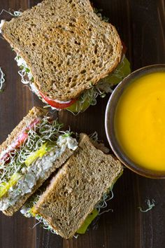 These chickpea salad sandwiches are packed with protein and fiber, and are oil-free to boot! Made with an unusual technique to keep the texture from being mushy. Vegan, oil-free. http://eatwithinyourmeans.com