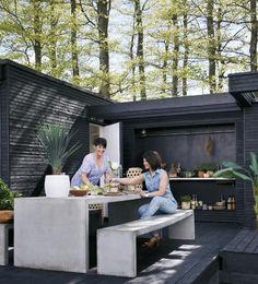 backyard design – Gardening Tips Outdoor Spaces, Outdoor Living, Outdoor Decor, Backyard Kitchen, Backyard Retreat, Yard Design, Exterior Design, Outdoor Gardens, Outdoor Furniture Sets