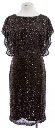 Lauren By Ralph Lauren Black Shine Sequin Blouson Cocktail Dress
