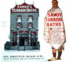 1908 advertising brochure for Rance's Turkish Baths, Brixton.Rance's And Savoy Turkish Baths at 461 Brixton Road. Operated in Brixton Road from 1893 to 1932. Rance's Turkish Baths used to stand at 461 Brixton Road, at the back of (formerly Brixton Woolworths).Offering large plunge baths and 'perfect ventilation' with chiropodists, hairdressers and experienced masseurs on hand.By 1910, you could book a session quite late in the day too, with the Brixton premises staying open from 8am until…