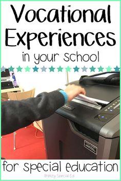 Classroom Jobs + School Vocational Experiences