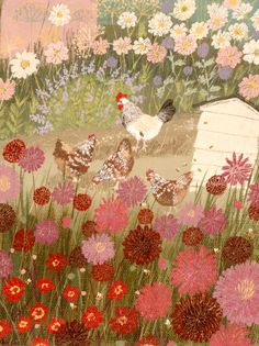 Title: Dahlias & chickens  Code: PNT 25  Size: 210mm x 150 mm  Price: £50.00  Description: Limited edition (print run 95) giclée print titled and signed by artist