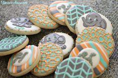 Preppy Baby Shower Cookies http://www.1finecookie.com/2012/05/project-cookies-no-grownups-allowed/#    #chevron #zig-zag #elephant #aqua #gray #grey #stripe #print #pattern #monogram #orange #coral