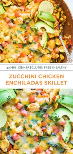 30 Minute Zucchini Chicken Enchilada Skillet a healthy gluten free dinner idea that comes together in one pan! This easy Chicken Enchilada Skillet is filled with zucchini, corn, black beans, zesty enchilada sauce then covered in cheese – the perfect light & easy meal for a busy week. Healthy Eating Recipes, Healthy Chicken Recipes, Healthy Eats, Chicken Enchilada Skillet, Chicken Skillet Recipes, Zucchini Enchiladas, Chicken Enchiladas, Enchilada Recipes, Enchilada Sauce