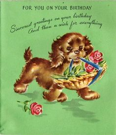 vintage Birthday card dog carrying basket of roses