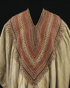 Abyssinia, woman's dress, belonged to Queen Woyzaro Terunesh, the second wife of the Ethiopian emperor Tewodros (Theodore), cotton embroidered with silk, 1860s