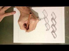 Dibujo de cintas tridimensionales con red isométrica - YouTube