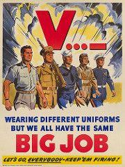 1942 V…- Wearing Different Uniforms But We All Have The Same Big Job. Let's Go, Everybody - Keep 'Em Firing! (Keijo K. Knutas) Tags: 1942 usa unitedstates ww2 wwii worldwarii secondworldwar propaganda poster