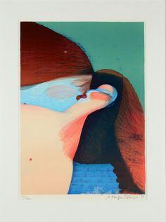 Kyssende par af Arne Haugen Sørensen (f. 1932), litografi
