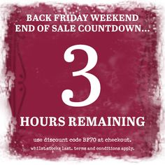 ***3 hours remaining*** Black Friday Weekend Sale. 70% off our full price range. This weekend only!!! Use discount code BF70 at the checkout. #blackfriday #sale #onebutton #jewellery #scarves #accessories