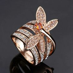 Rose gold dragonfly ring