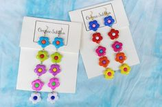 colorful floral bead acrylic dangle  earrings/ hook earrings/ handmade earrings/ custom made earrings by ommiesukkho on Etsy