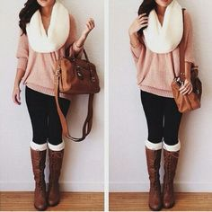 An adorable cream knit scarf with a long shirt, leggings, cream leg warmers, and lace-up boots:)