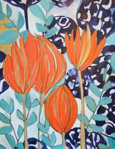 Painting by Lulu de Kwiatkowski. Art Floral, Motif Floral, Art Abstrait, Art And Illustration, Painting Inspiration, Art Inspo, Color Inspiration, Flower Art, Flower Prints
