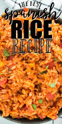 Jan 2020 - This recipe for Spanish Rice is festive and flavorful, the ultimate side dish. It tastes just like Spanish Rice from your favorite Mexican restaurant! Mexican Rice Recipes, Easy Rice Recipes, Rice Recipes For Dinner, Mexican Dishes, Side Dish Recipes, Vegetarian Recipes, Cooking Recipes, Spanish Rice Recipes, Easy Spanish Rice Recipe