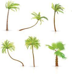 Vectores libres de derechos: Set of Palm Trees