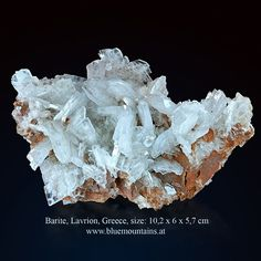 Barite Location: Plaka mines area, Lavrion, Attica, Greece size: x 6 x cm available at www. Attica Greece, Mineralogy, Geology, Rocks, Size 10, Gems, Colorful, Photo And Video, Crystals
