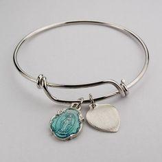 Amazon.com: Womens Catholic Bracelet, Religious Bracelet, Silver, Adult St. Mary, Miraculous Medal with Blue Enameled Pewter Faith Bangle 2 ...
