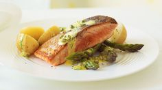 Crispy skinned salmon with lemon, dill and caper sauce recipe - By Australian… Salmon Recipes, Potato Recipes, Fish Recipes, Seafood Recipes, Sauce Recipes, Cooking Recipes, Wheat Free Recipes, Smoked Salmon