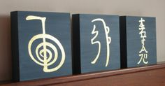 3 Reiki Symbols. Original Painting. Mixed technique on wood. 22 Karats gold foil.  20 x 20 x 4 cm (7 7/8 x 7 7/8 x 1 37/64 in) each one