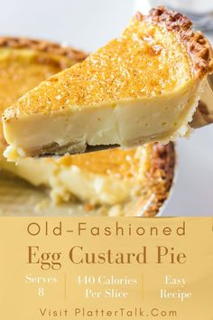Easy Egg Custard Pie Recipe, Old Fashioned Egg Custard Pie Recipe, Egg Custard Pies, No Egg Desserts, Custard Desserts, Easy Desserts, Delicious Desserts, Dessert Recipes, Homemade Peanut Butter Cups
