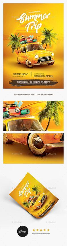 Summer Trip Flyer - #Holidays #Events Download here: https://graphicriver.net/item/summer-trip-flyer/20177067?ref=alena994