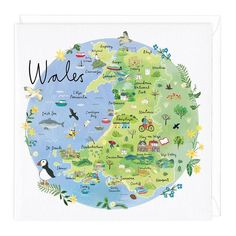 Wales Map Card Travel Maps, Travel Posters, Wales Map, Design Thinking, Road Trip Map, Road Trips, Welsh Words, Map Of Britain, Pictorial Maps