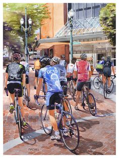 Bicycles on Broadway Painting by Mike Hill - Bicycles on Broadway Fine Art Prints and Posters for Sale