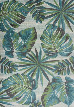 5x8 5 3 X 7 Tropical Coastal Palm Teal Blue Area Rug