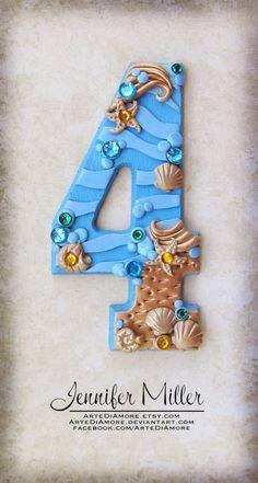Sunken Treasure Underwater Mermaid Number Birthday Cake Topper. $26.00, via Etsy.