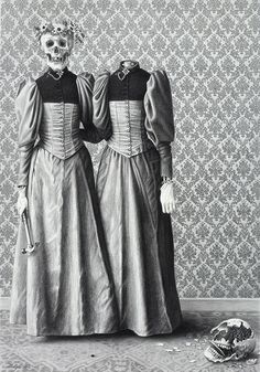 Sisters by Laurie Lipton, charcoal & pencil on paper