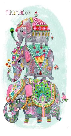 A proud family of elephants dressed in their rich traditional coverings balance one on top of another on this stretched canvas art.<br><br>The Oopsy Daisy Too Elephant Pile Canvas Wall Art - 14 Inch Inch Features: Elephant Love, Elephant Art, Elephant Illustration, Cute Illustration, Grafik Design, Indian Art, Illustrators, Canvas Wall Art, Artsy