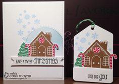Christmas card gingerbread house scene