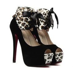 Peep Sexy Lace-Up y Leopard diseño de las venas de la mujer zapatos con punta para Vender - La Tienda En Online IGOGO.ES