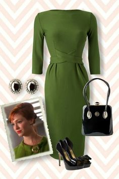 Elegant & Chic vintage look! Sixties Fashion, 1950s Fashion, Vintage Fashion, Vintage Style Dresses, Vintage Outfits, Mad Men Fashion, Womens Fashion, Mode Collage, Men Dress Up