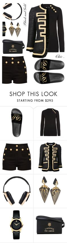 """#blackngold"" by liligwada ❤ liked on Polyvore featuring Dolce&Gabbana, Balmain, Givenchy, Pryma, Alexis Bittar, Movado and Gucci"